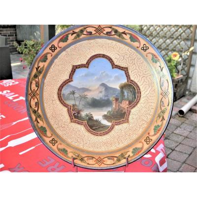 Orientalist Decor Dish Circa 1864 Montereau Sign