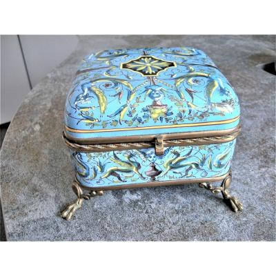 Faience Jewelry Box 1867 By Creil And Montereau