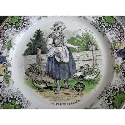 4 Opaque Porcelain Plates Decor On Children 1839 By Creil Montereau
