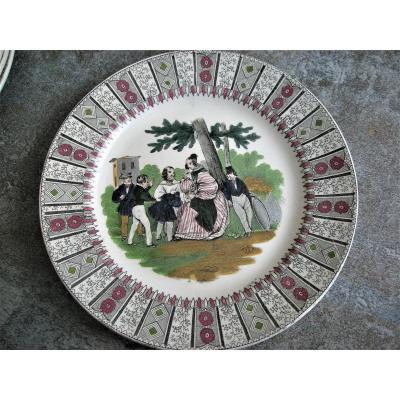 6 Opaque Porcelain Plates 1839 Decor