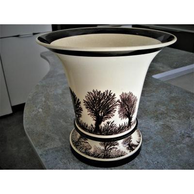 Vase A Onion Decor Herborization Around 1803 Creil Sign