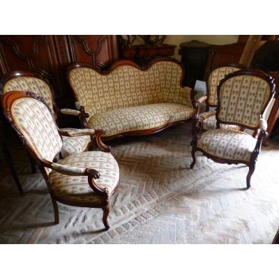 Salon époque Napoléon III, Acajou. Banquette 3 Places avec 4 fauteuils