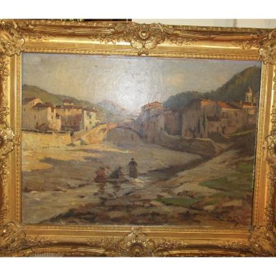 Oil On Canvas Mountain Landscape (italy Or Corsica) Signed André Pillot