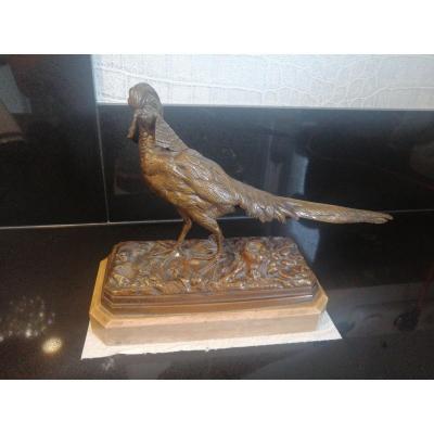 Bronze Faisan De Émile Adrien Trodoux (xixeme)