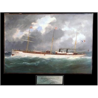 Edouard Adam Père (1847 -1929) - Marine Représentant Un Cargo à Vapeur 1881 Le Havre