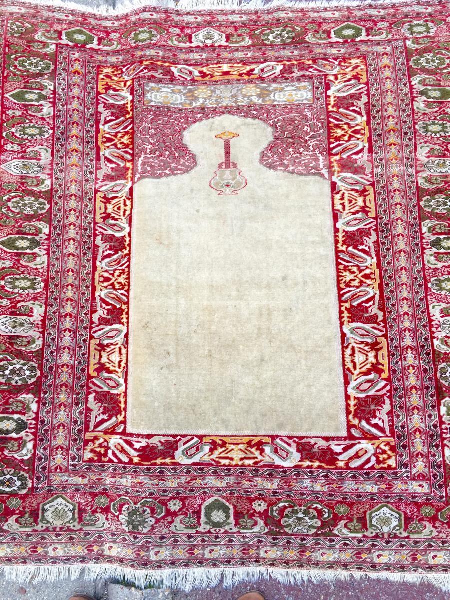 Tapis Tabriz Djafer En Soie Signé Iran XIX ème Siècle -photo-2