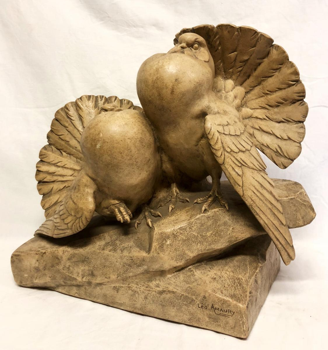 Couple Of Piggers In Terra Cotta Signed By Leo Amaury-photo-4