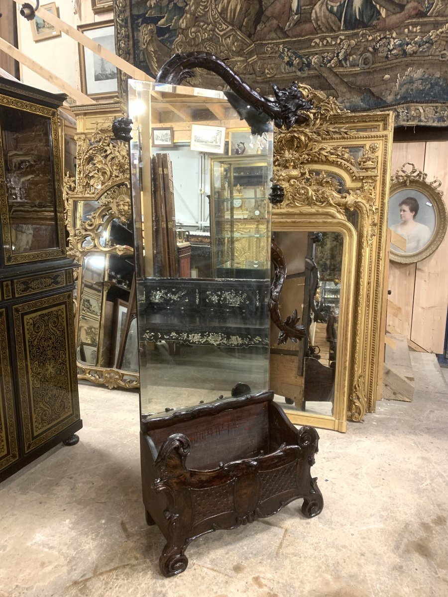Miroir Japonisant Dans Le Goût De Gabriel Viardot D'époque Napoléon III