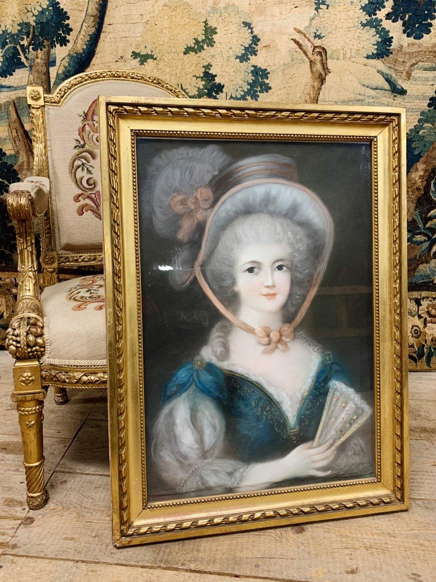 Pastel  «élégante Au Chapeau» XIX ème Siècle Napoléon III