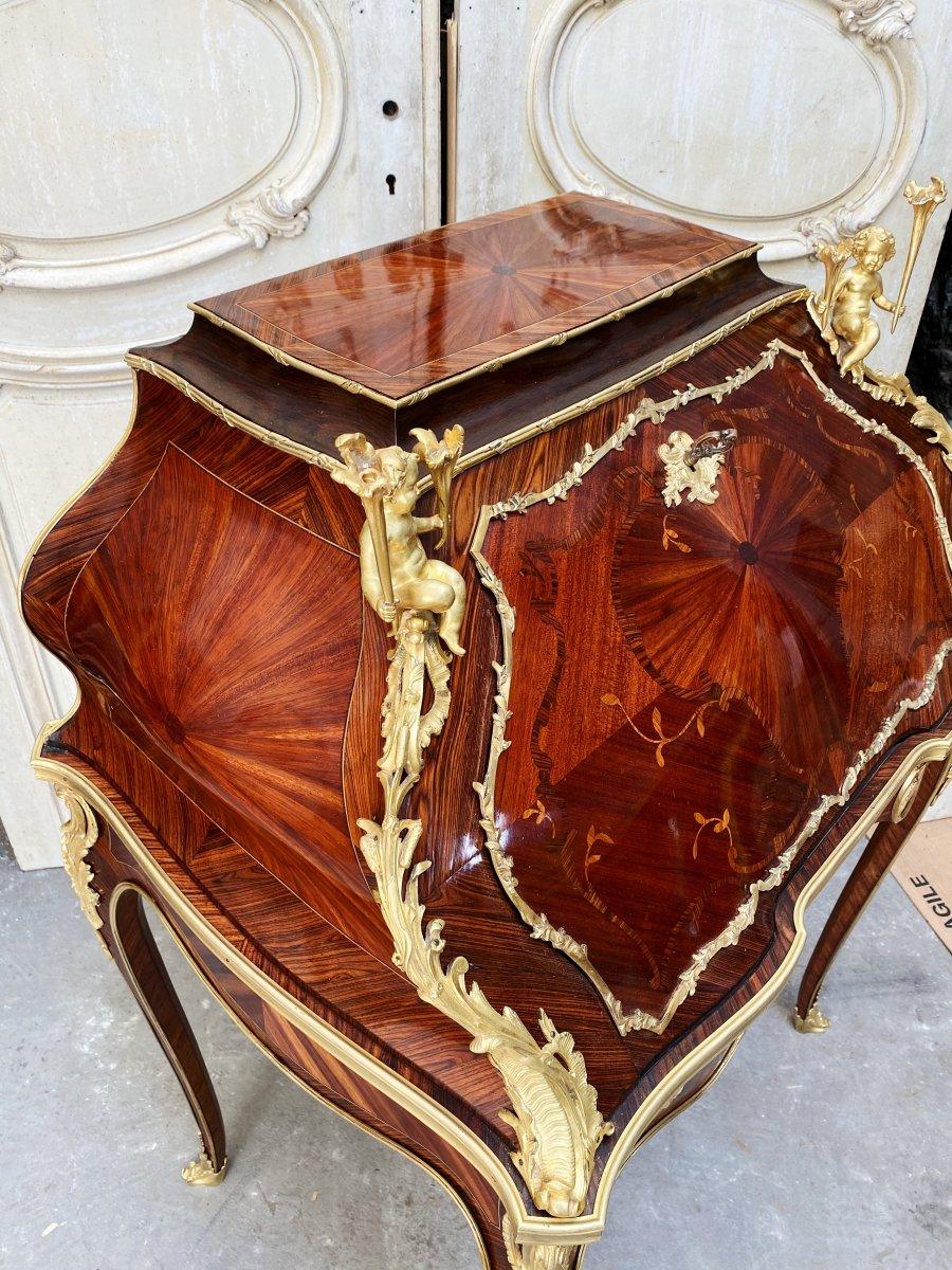 Bureau De Pente Aux Putti D'époque Napoléon III En Marqueterie Et Bronzes Dorés -photo-1