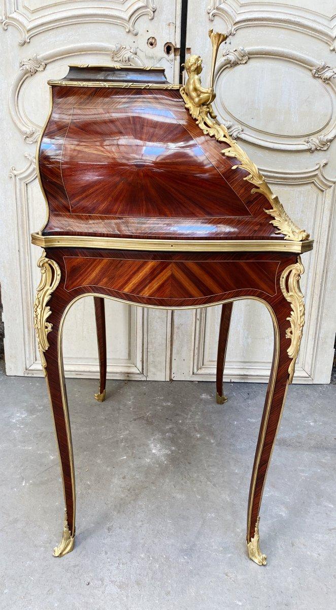 Bureau De Pente Aux Putti D'époque Napoléon III En Marqueterie Et Bronzes Dorés -photo-4