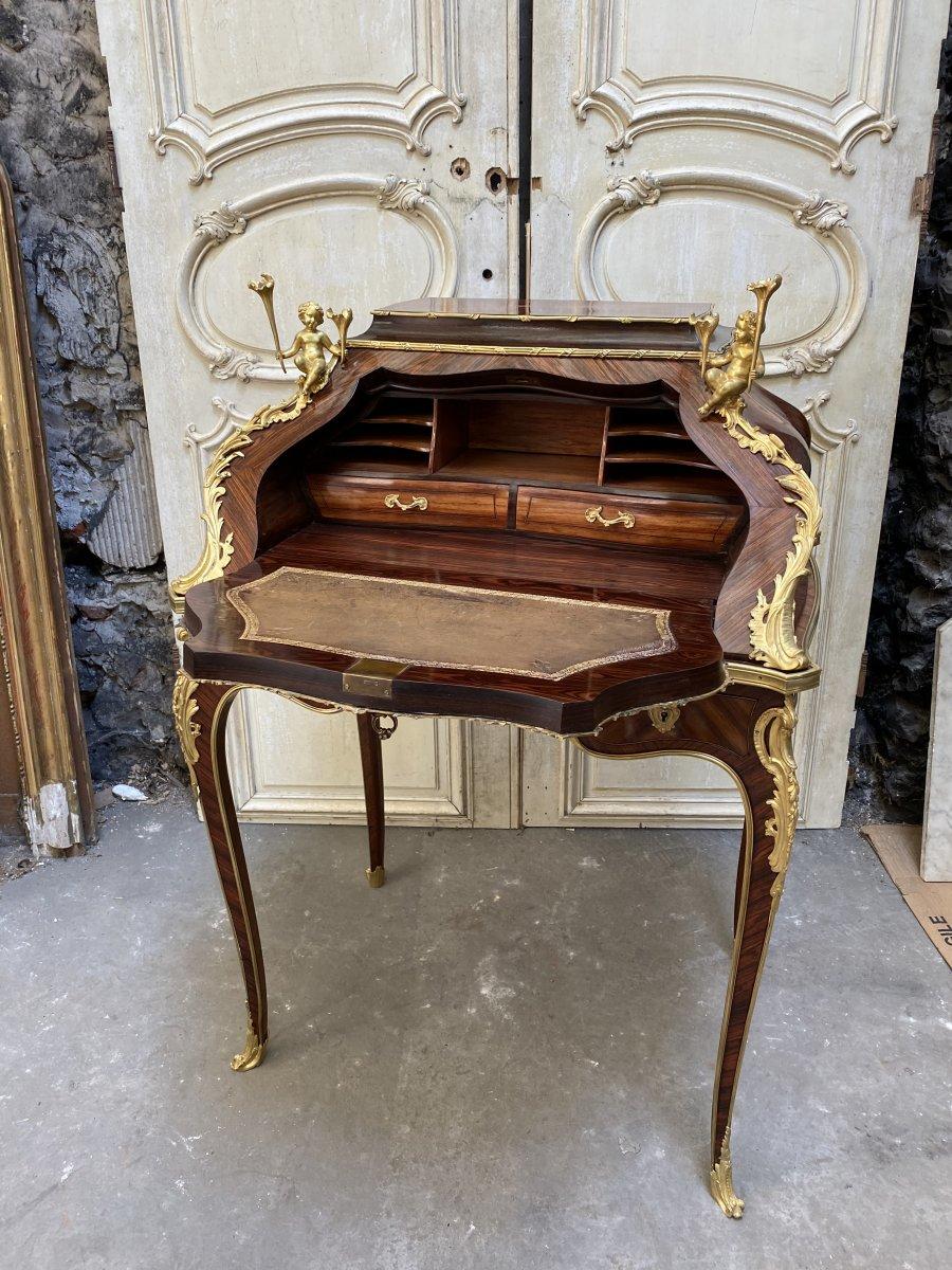 Bureau De Pente Aux Putti D'époque Napoléon III En Marqueterie Et Bronzes Dorés -photo-5