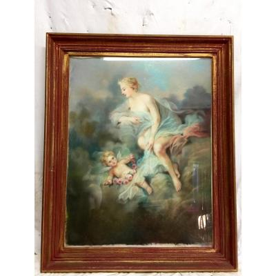 Pastel Of The 19th Century Venus And Love