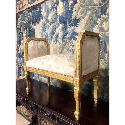 Banquette De Style Louis XVI En Bois Doré D'époque Napoléon III