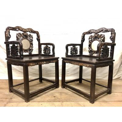 Pair Of Chinese Armchairs 19th Century Iron Wood And Nacre Marquetry
