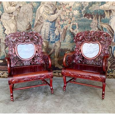 Pair Of Chinese Armchairs From The End Of XIX Century