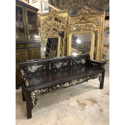 Chinese Bench From 19th Century Marquetry Of Nacre