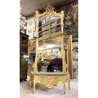 Miroir En Bois Doré Et Sa Jardinière D'époque Napoléon III