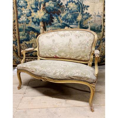"Sofa Louis XV Style Golden Wood Napoleon III Aubusson Tapestry Original ""chinese"""