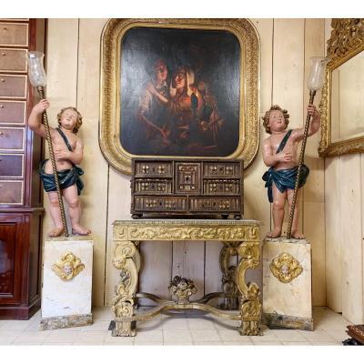Paire De Portes torchères Aux Putti en bois sculpté Italie 19 ème Siècle Nubiens