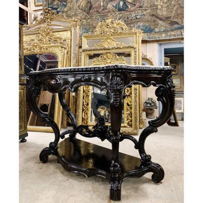 Ceremonial Console Blackened Wood Napoleon III Period 1m62 Width