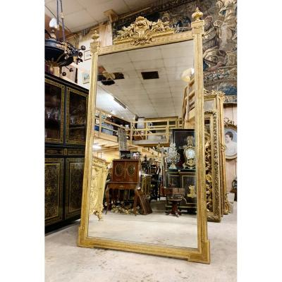 Napoleon III Period Fireplace Mirror In Golden Wood