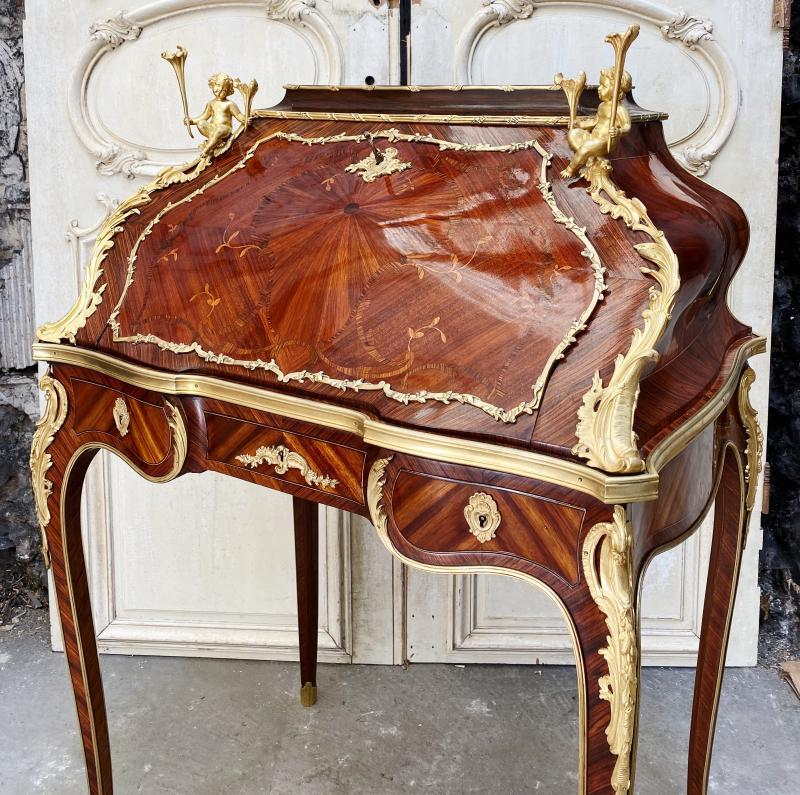 Bureau De Pente Aux Putti D'époque Napoléon III En Marqueterie Et Bronzes Dorés -photo-3