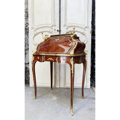 Slope Desk With Putti From Napoleon III In Marquetry And Gilded Bronzes