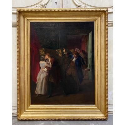 Gaston Mélingue ( 1840-1914 ) Huile Sur Toile Du XIX ème Siècle «les Amants Surpris»