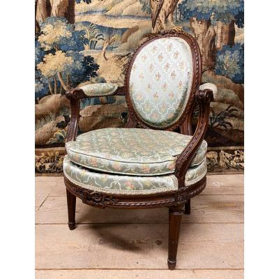 Louis XVI Period Armchair Stamped By Jean Baptiste Lebas