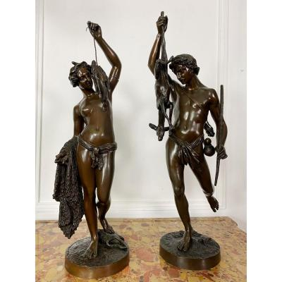 James Pradier, Allegory Of Hunting And Fishing 19th Century