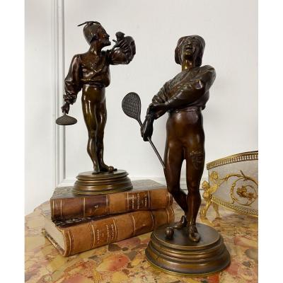 Pendant De Bronzes Aux Sujets Amusants  Par Alfred Barye (1839-1882 )