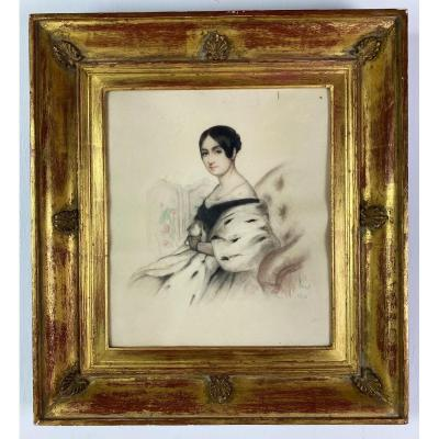 Pastel Of Woman Signed By Antoine Etex And Dated 1841