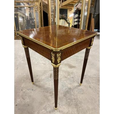 Table Porte Feuille De Style Louis XVI En Marqueterie Bronzes Dorés table à jeux Napoléon III