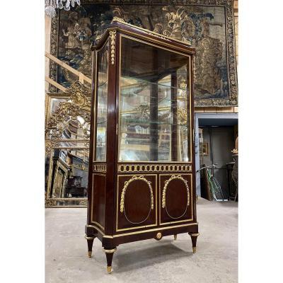 Vitrine De Style Louis XVI attribué à Paul Sormani En Acajou Massif Et Bronzes Dorés