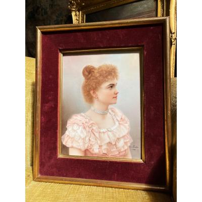 Painting On Porcelain Portrait Of An Elegant Signed Louise Forestier And Dated 1897