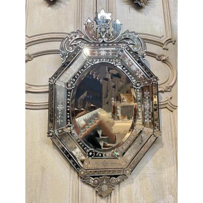 Miroir De Venise En Verre Dégage à L'acide Fabrication Vers 1930