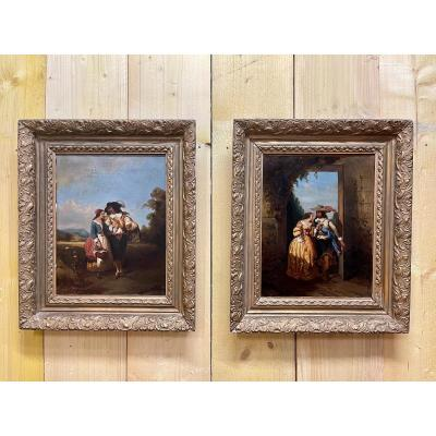 Pair Of Oils On Canvas Gallant Scenes From The End Of The XIXth Century