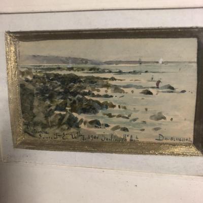 François LETEURTRE XIXe-XXe DOUARNENEZ en BRETAGNE aquarelle La plage Finistère