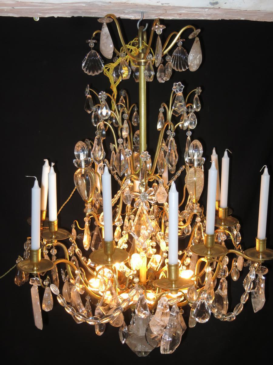 IMPORTANT LUSTRE XIXe CRISTAL DE ROCHE 12 Lumières Hauteur 100 Cm Tbe
