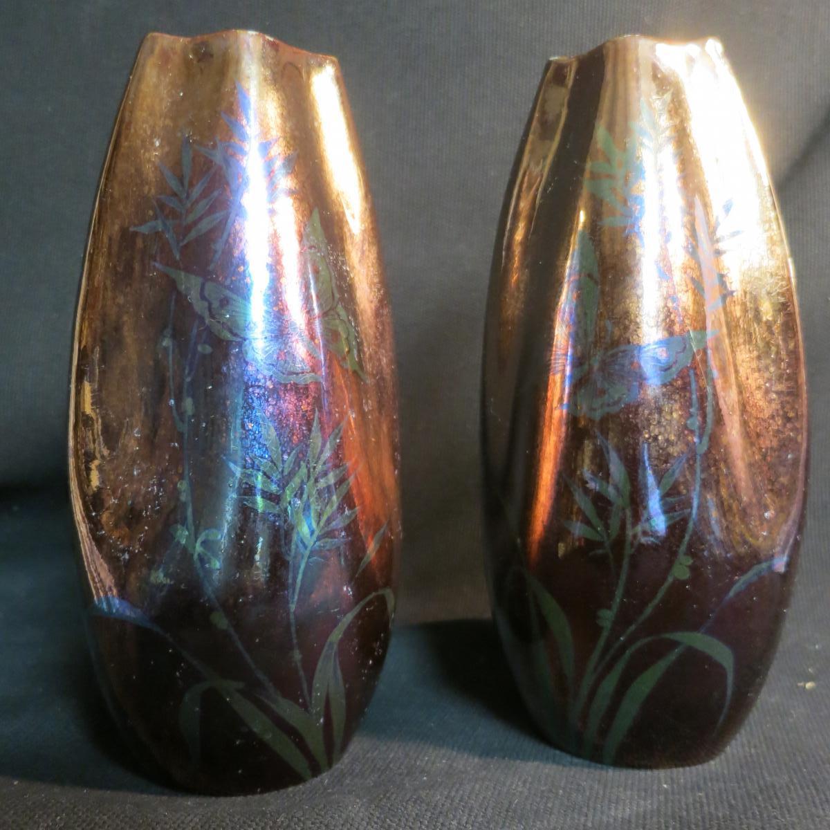 paire de vases jean gaziello vallauris decor papillon iris autres c ramiques. Black Bedroom Furniture Sets. Home Design Ideas