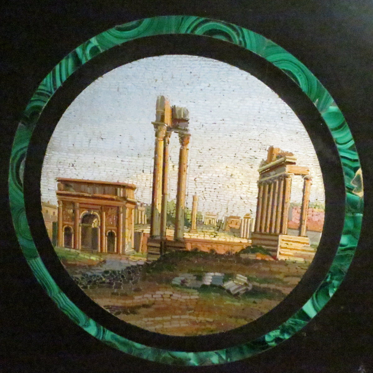 PLATEAU en medaillon MICROMOSAIQUE XIXe Italie plaque Rome