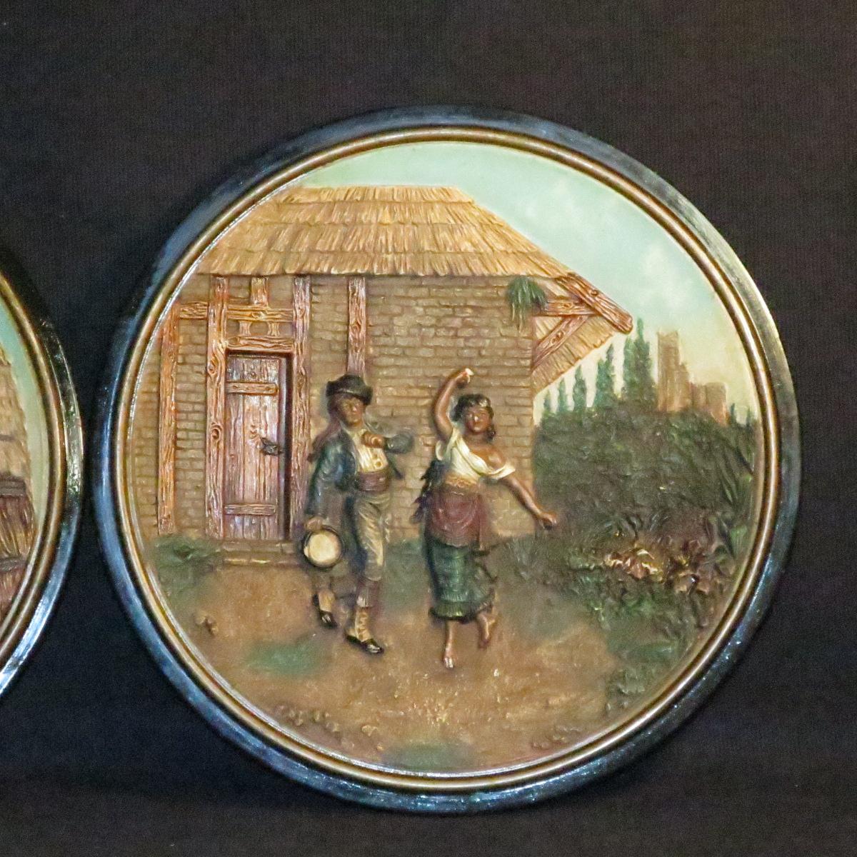 Johann Maresch Pair Of Plates Plates Pottery Central European Gypsies-photo-3