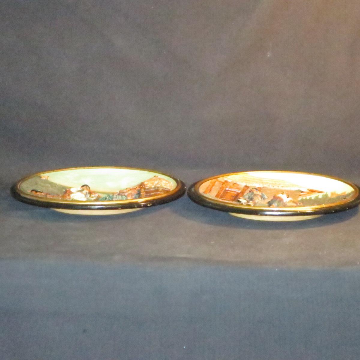 Johann Maresch Pair Of Plates Plates Pottery Central European Gypsies-photo-5