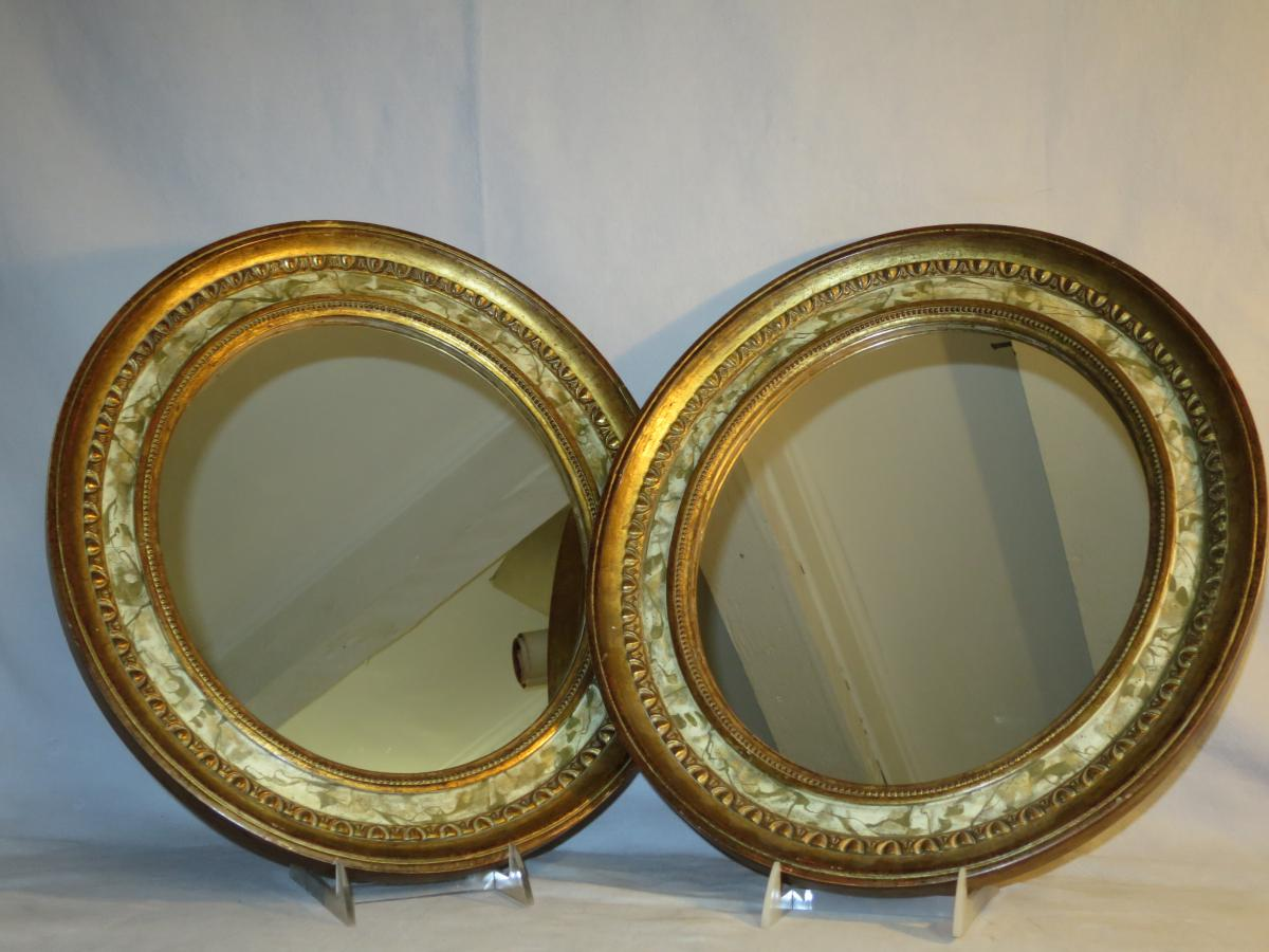 Pair Of Mirrors In Golden Wood And Painted In Trompe-l'oeil Nineteenth Oval Mirror