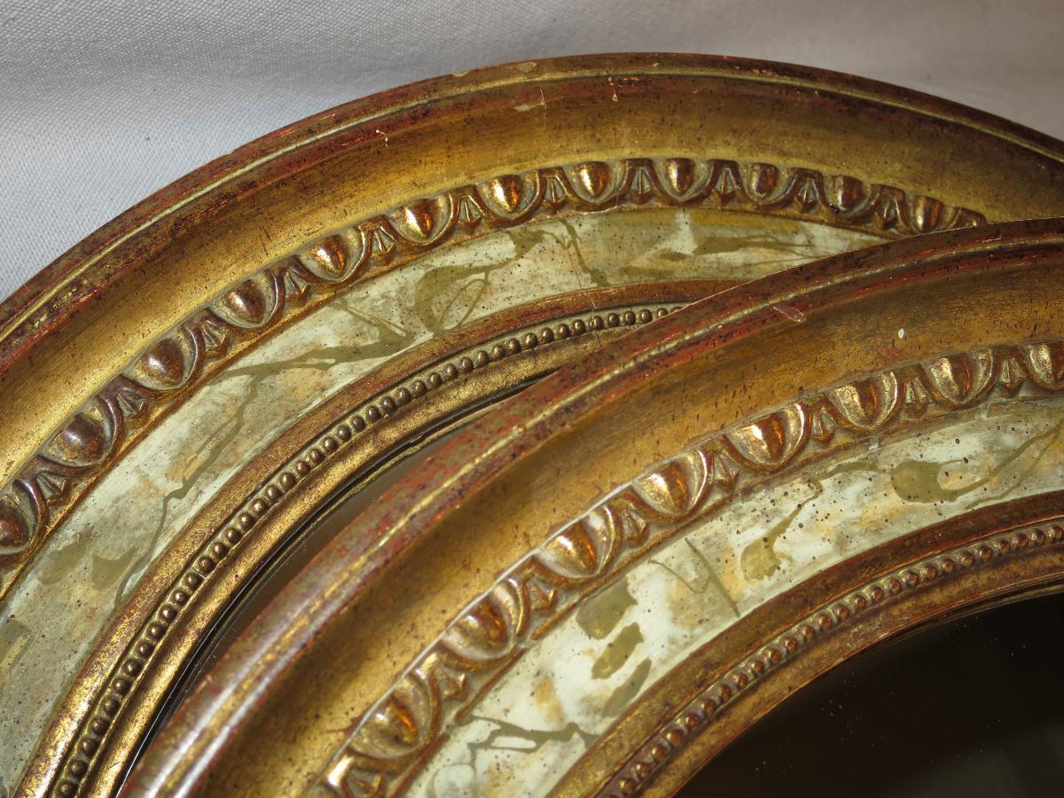 Paire de miroirs en bois dor et peints en trompe l 39 oeil xixe miroir ovale miroirs - Miroir trompe l oeil ...