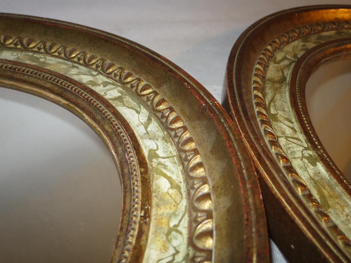 Paire de miroirs en bois dor et peints en trompe l 39 oeil for Miroir trompe l oeil fenetre