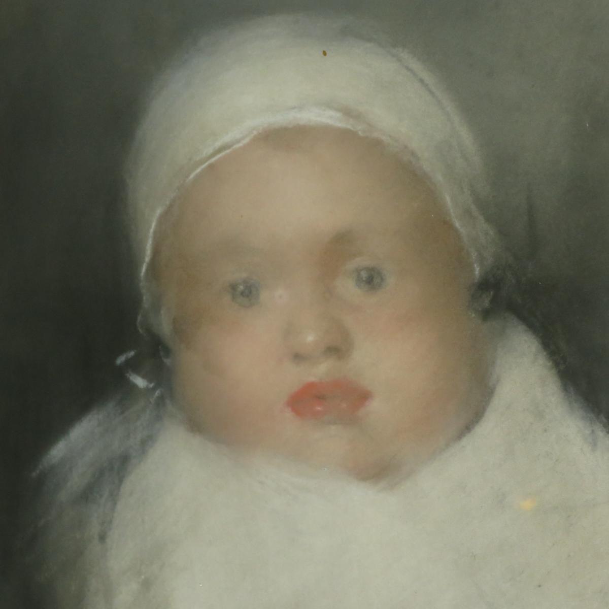 Charles Edmond DAUX pastel representant un jeune enfant , bébé au bonnet