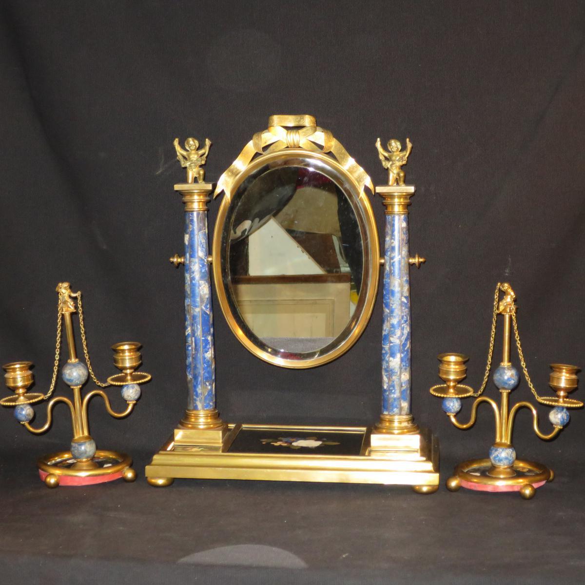 Psyché et bougeoirs XIXe en bronze et lapis lazuli pedigree Egyptien putti