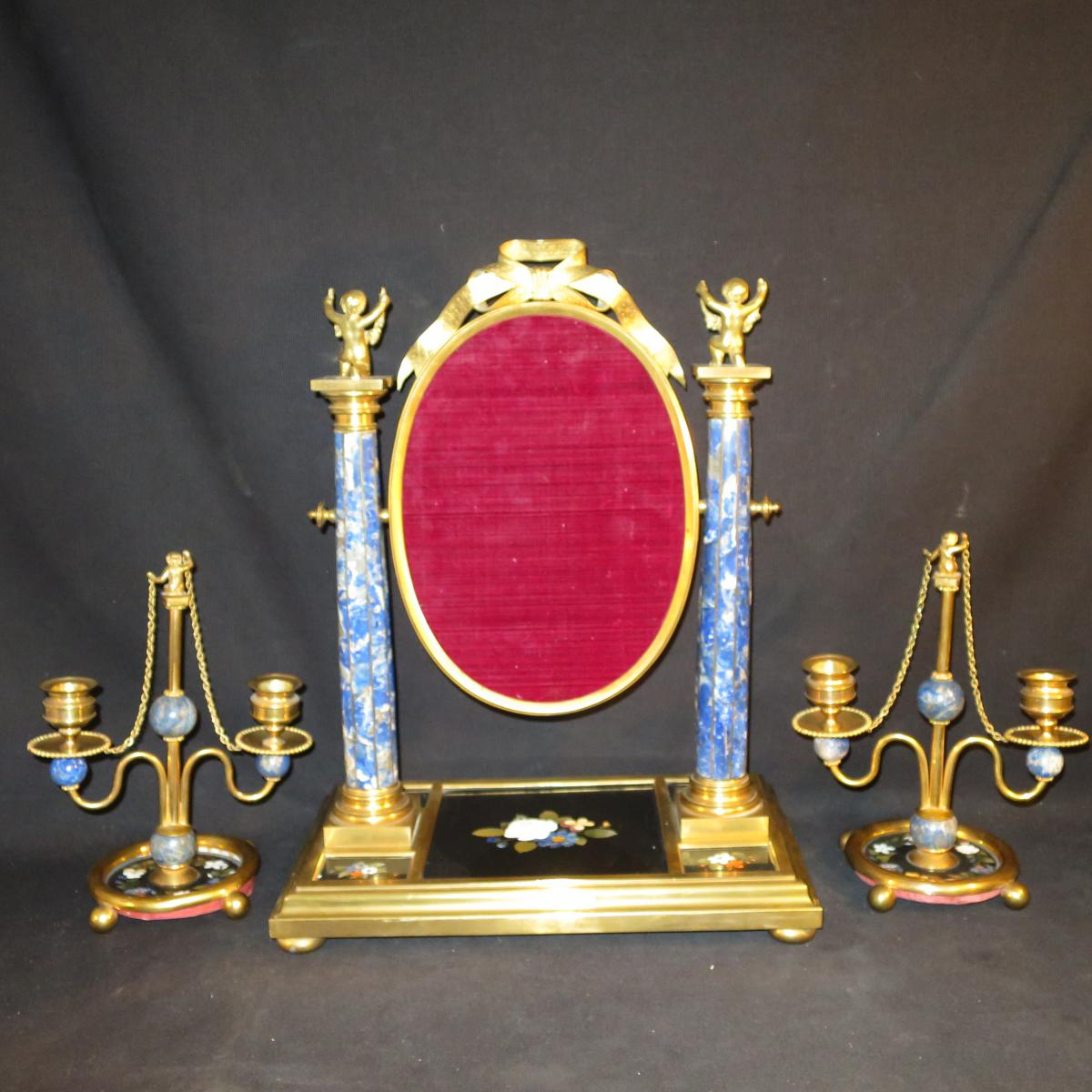 Psych et bougeoirs xixe en bronze et lapis lazuli for Miroir egyptien
